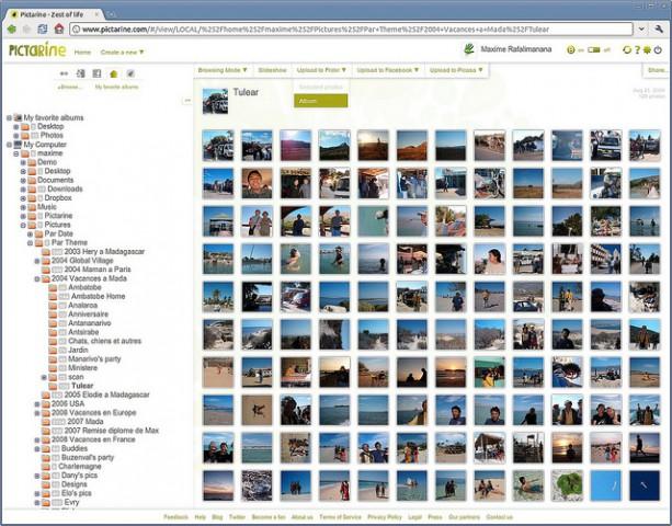 Übersicht über den lokalen Bildbestand mit Upload-Funktion (Bild: Pictarine)