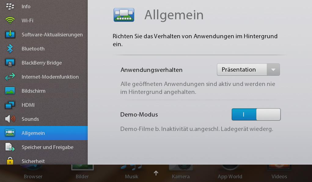 Blackberry Playbook im Test: Kompaktes Tablet mit intuitiven Gesten - Die Systemeinstellungen des Playbook (Screenshot: Michael Wieczorek)