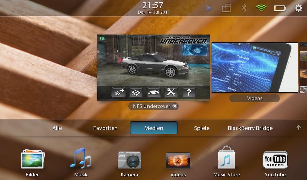 Blackberry Playbook im Test: Kompaktes Tablet mit intuitiven Gesten - Multitasking auf dem Playbook (Screenshot: Michael Wieczorek)