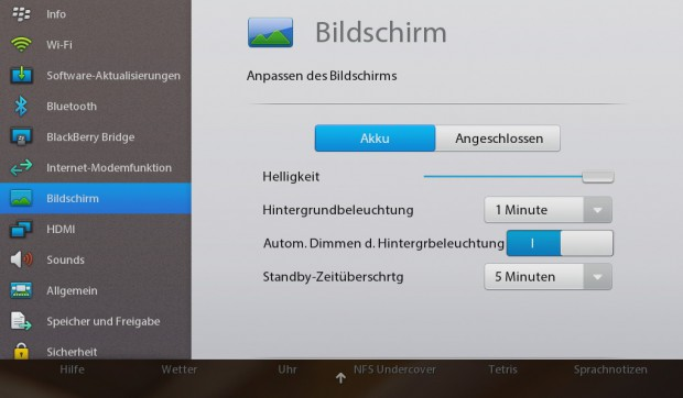 Die Systemeinstellungen des Playbook (Screenshot: Michael Wieczorek)