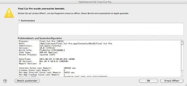 Acht Mal stürzt Final Cut Pro X auf unserem Macbook Pro ab.