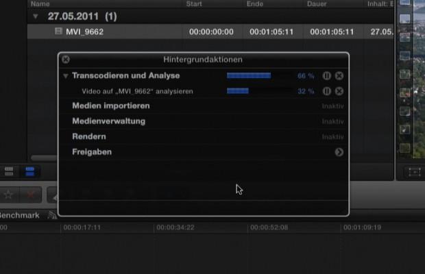 Ein Fenster zeigt an, was Final Cut Pro X im Hintergrund tut.