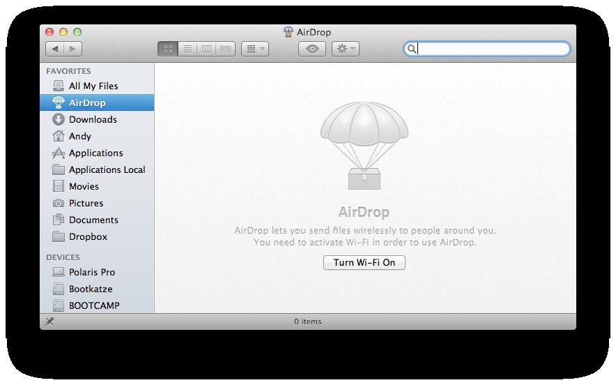 Mac OS X 10.7 Lion im Test: Schieben statt scrollen - Airdrop funktioniert leider nur mit aktiviertem WLAN.