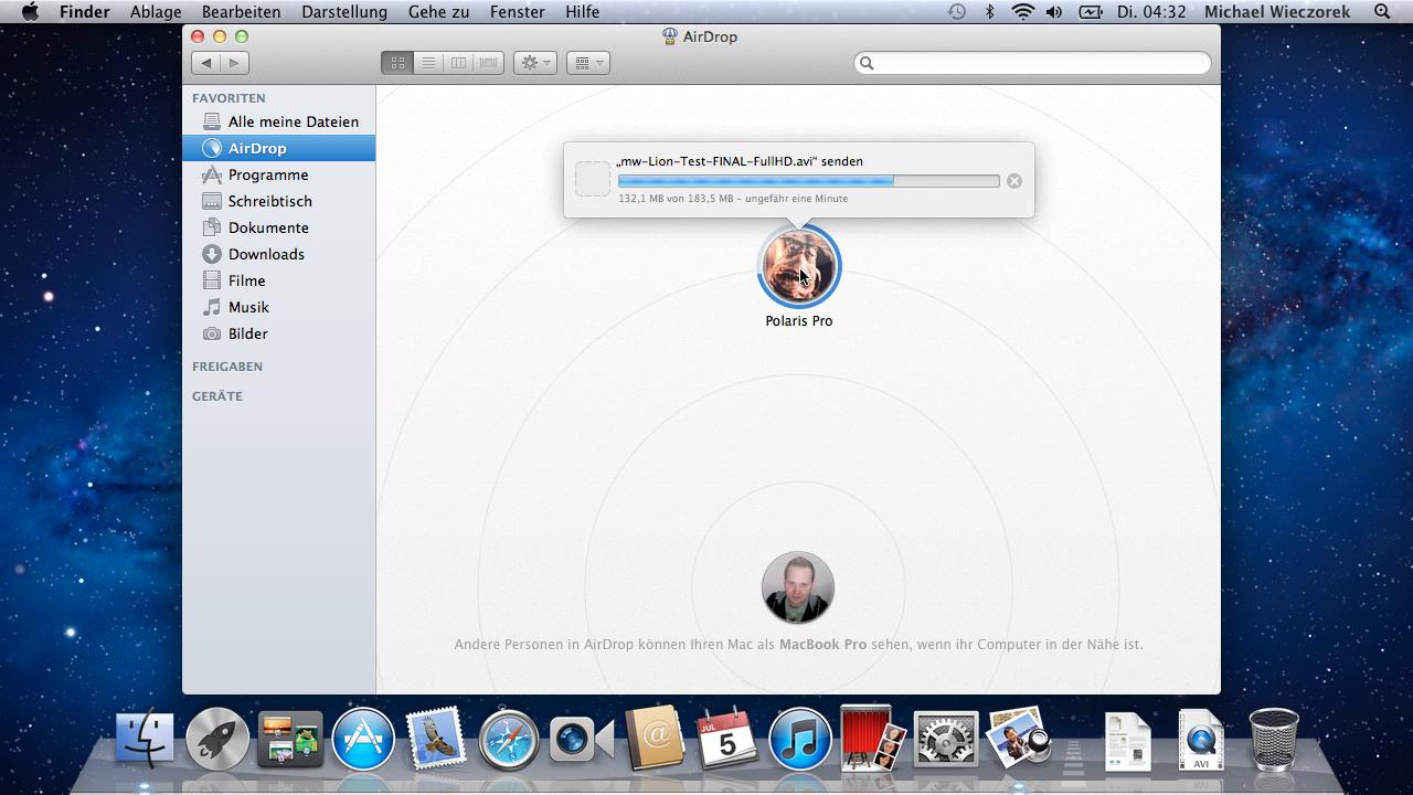 Mac OS X 10.7 Lion im Test: Schieben statt scrollen - Fortschrittsbalken bei Airdrop
