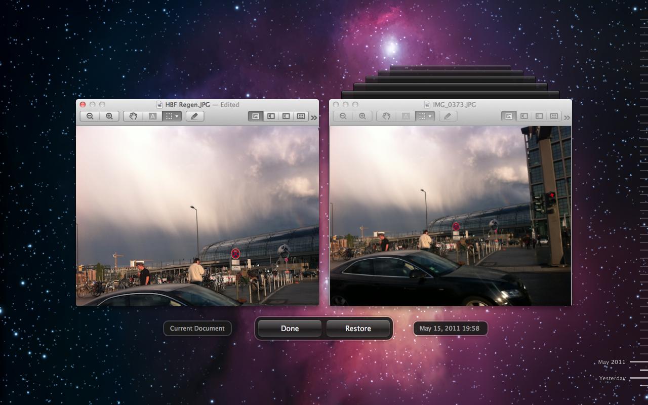 Mac OS X 10.7 Lion im Test: Schieben statt scrollen - Alte Versionen werden mitgespeichert.