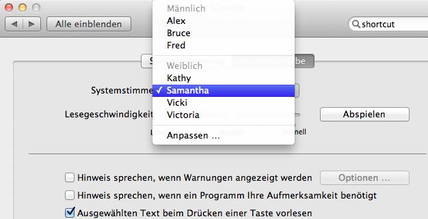Mac OS X 10.7 Lion im Test: Schieben statt scrollen - Auswahl der Stimmen in den Systemeinstellungen