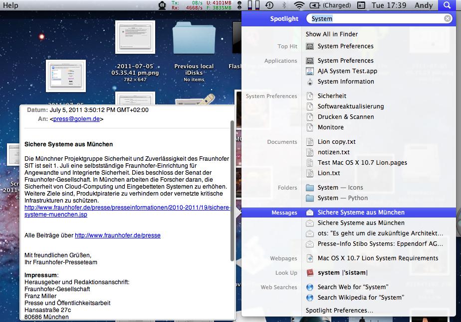 Mac OS X 10.7 Lion im Test: Schieben statt scrollen - Spotlight besitzt jetzt eine Quicklook-Funktion.