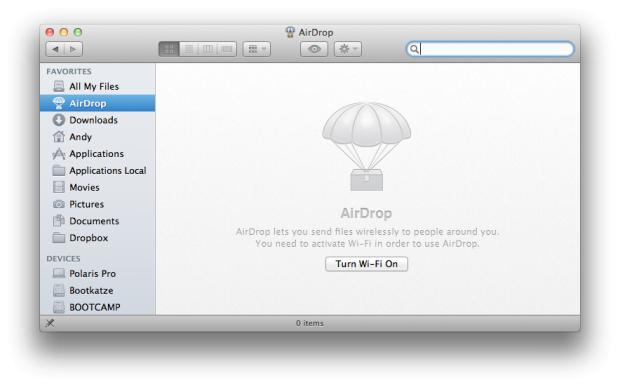 Airdrop funktioniert leider nur mit aktiviertem WLAN.