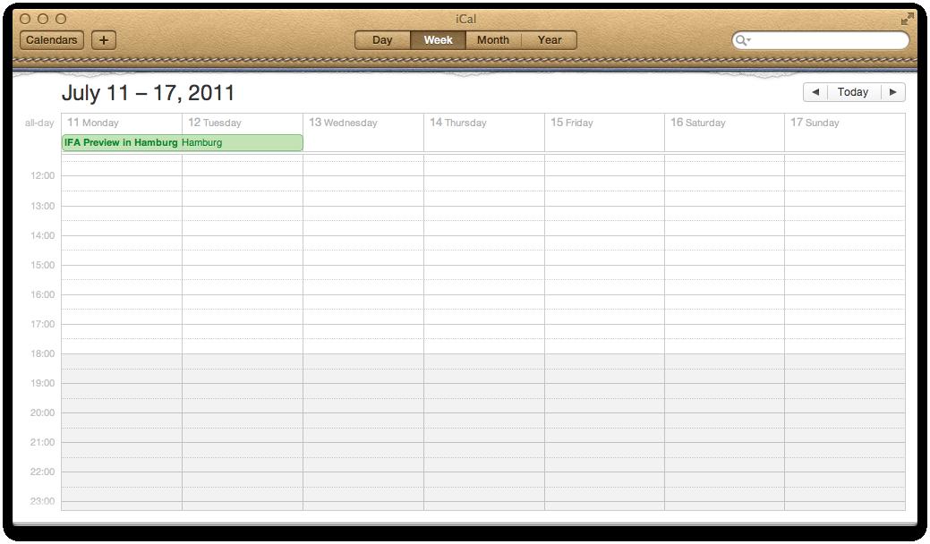 Mac OS X 10.7 Lion im Test: Schieben statt scrollen - Apples iCal mt neuer Wochenansicht, ...