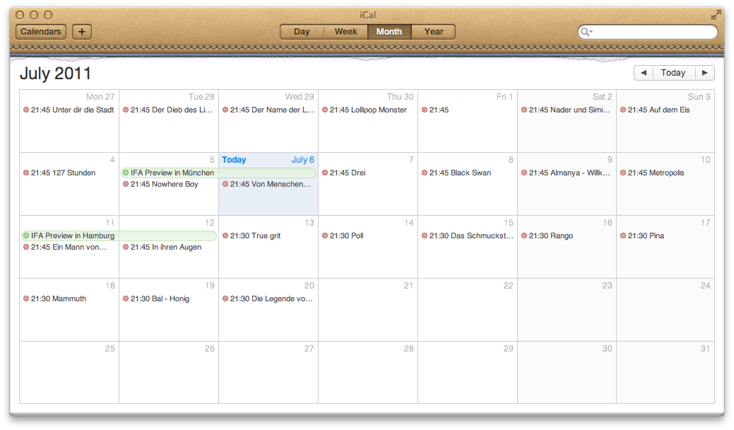 Mac OS X 10.7 Lion im Test: Schieben statt scrollen - ... Monatsansicht und...