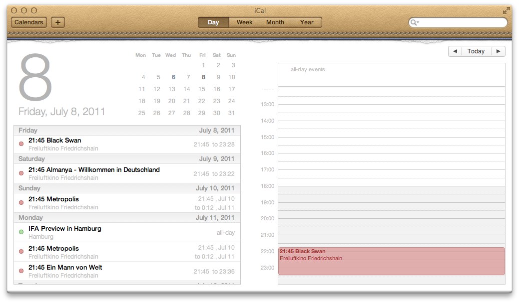 Mac OS X 10.7 Lion im Test: Schieben statt scrollen - Auflistung der Termine des Tages.