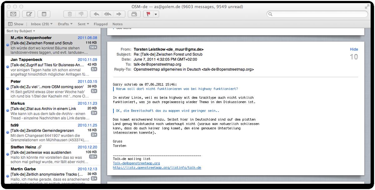 Mac OS X 10.7 Lion im Test: Schieben statt scrollen - Apple Mail mit zwei...
