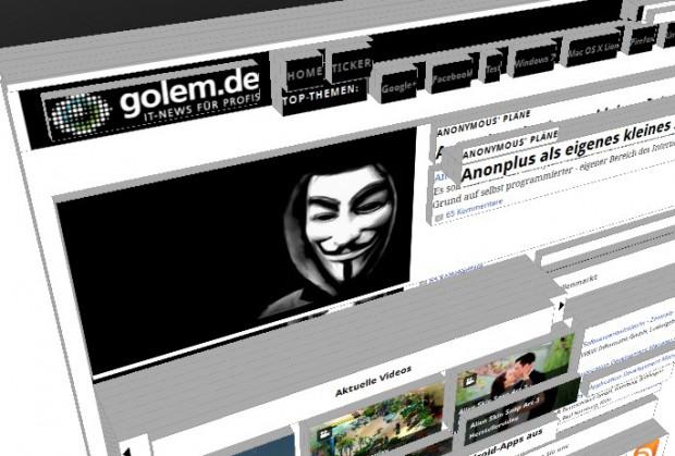Firefox-Erweiterung Tilt zeigt Golem.de in 3D (Bild: Golem.de)