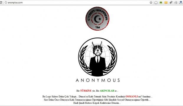 Akincilar entstellten Anonplus.com und auch das Anonymous-Logo. (Bild: The Hacker News)