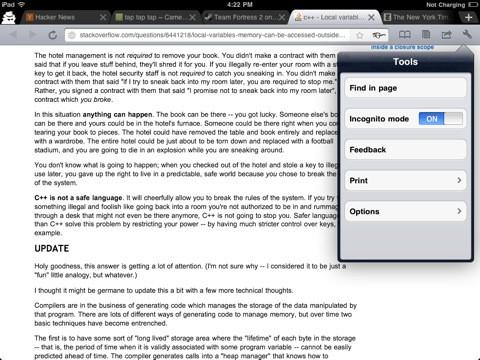 iChromy - Inkognito-Modus (Bild: Diigo.com)