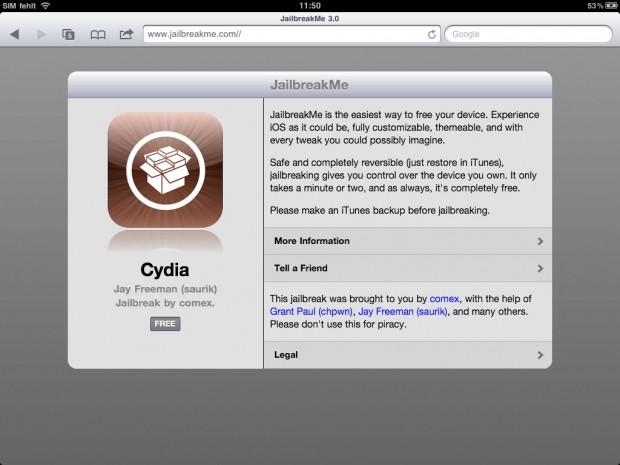 Jailbreakme 3.0 - versieht nun auch das iPad 2 mit einem Jailbreak. (Bild: Golem.de)