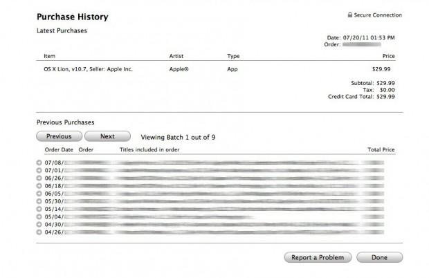 """Apple-Kunde """"abhas"""" kaufte Lion einmal, was auch in der App-Store-Rechnung bestätigt wurde, aber... (Bild: Abhas)"""