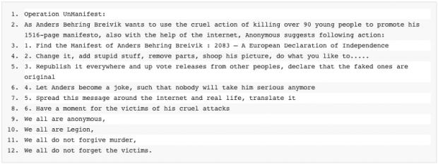 Operation Unmanifest - bei Pastebin.com eingestellter Aufruf zum kreativen Kampf gegen Anders Behring Breiviks 1516-Seiten-Manifest (Screenshot von Golem.de)