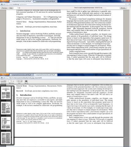 pdf.js 0.2 mit Vorschauleiste (unten) im Vergleich mit pdf.js 0.1 (oben)