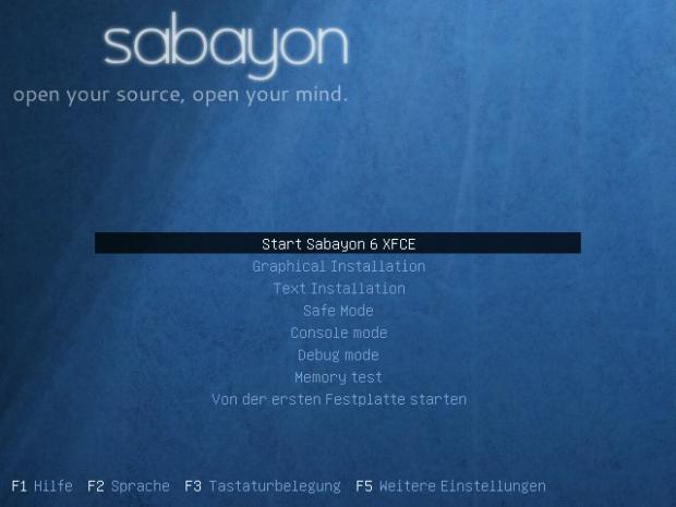 Bootscreen von Sabayon Linux 6 XFCE
