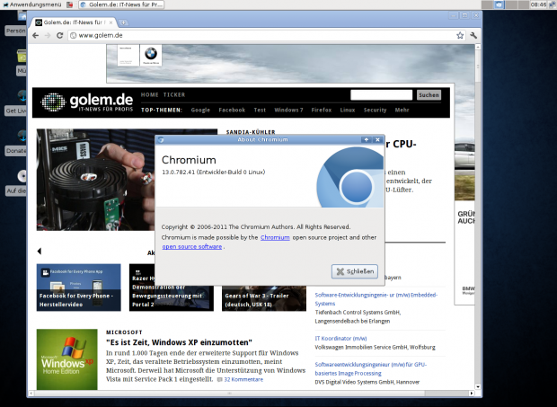 Der Standardbrowser ist Chromium 13.