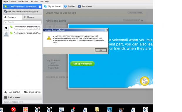 Die XSS-Lücke in Skype für Windows in Aktion (Bild: Levent 'Noptrix' Kayan)
