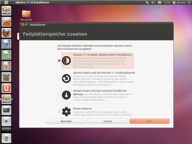 Bislang sind im Installer nur wenige Hinweise auf Ubuntu 11.10 Oneiric Ocelot.