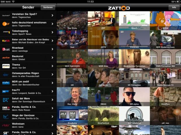 Zattoo Live TV für iOS auf dem iPad (Bild: Golem.de)