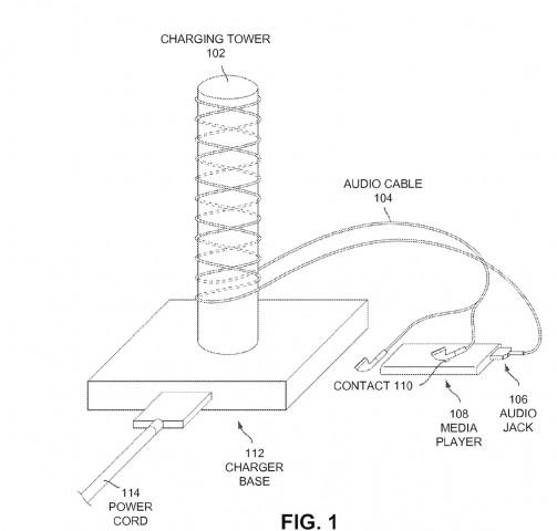 Induktions-Ladegerät aus US-Patentantrag 20110188677 (Bild: USPTO / Apple)
