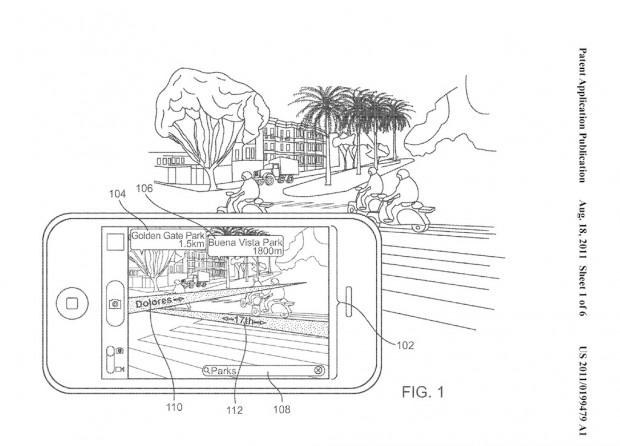 Karteneinblendung im Kamerabild - US-Patentantrag 20110199479 (Bild: Apple/US-Patent- und Markenamt)