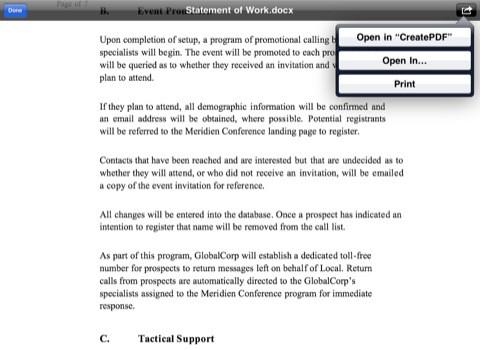 Adobe CreatePDF für das iPad (Bild: Adobe)