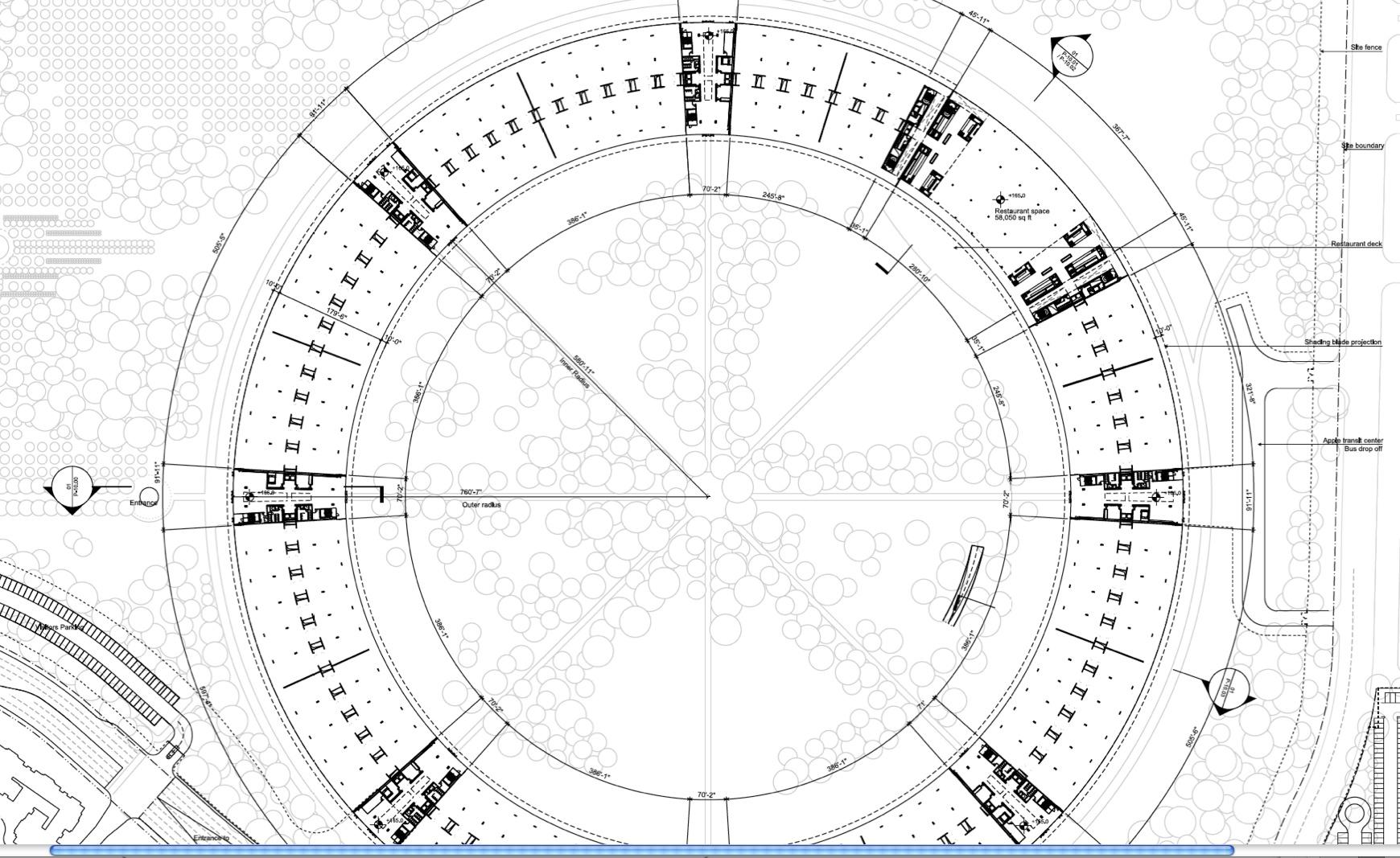 Raumschiffdesign: Details zu Apples neuer Firmenzentrale - Apple Campus 2 - Grundriss (Bild: Apple/Cupertino.org/Foster + Partners)