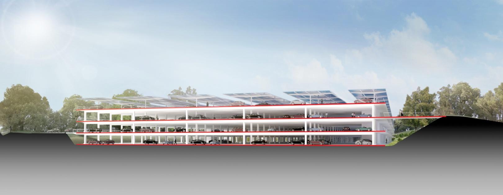 Raumschiffdesign: Details zu Apples neuer Firmenzentrale - Das Parkhause von Apples Campus 2 (Bild: Apple/Cupertino.org/Foster + Partners)