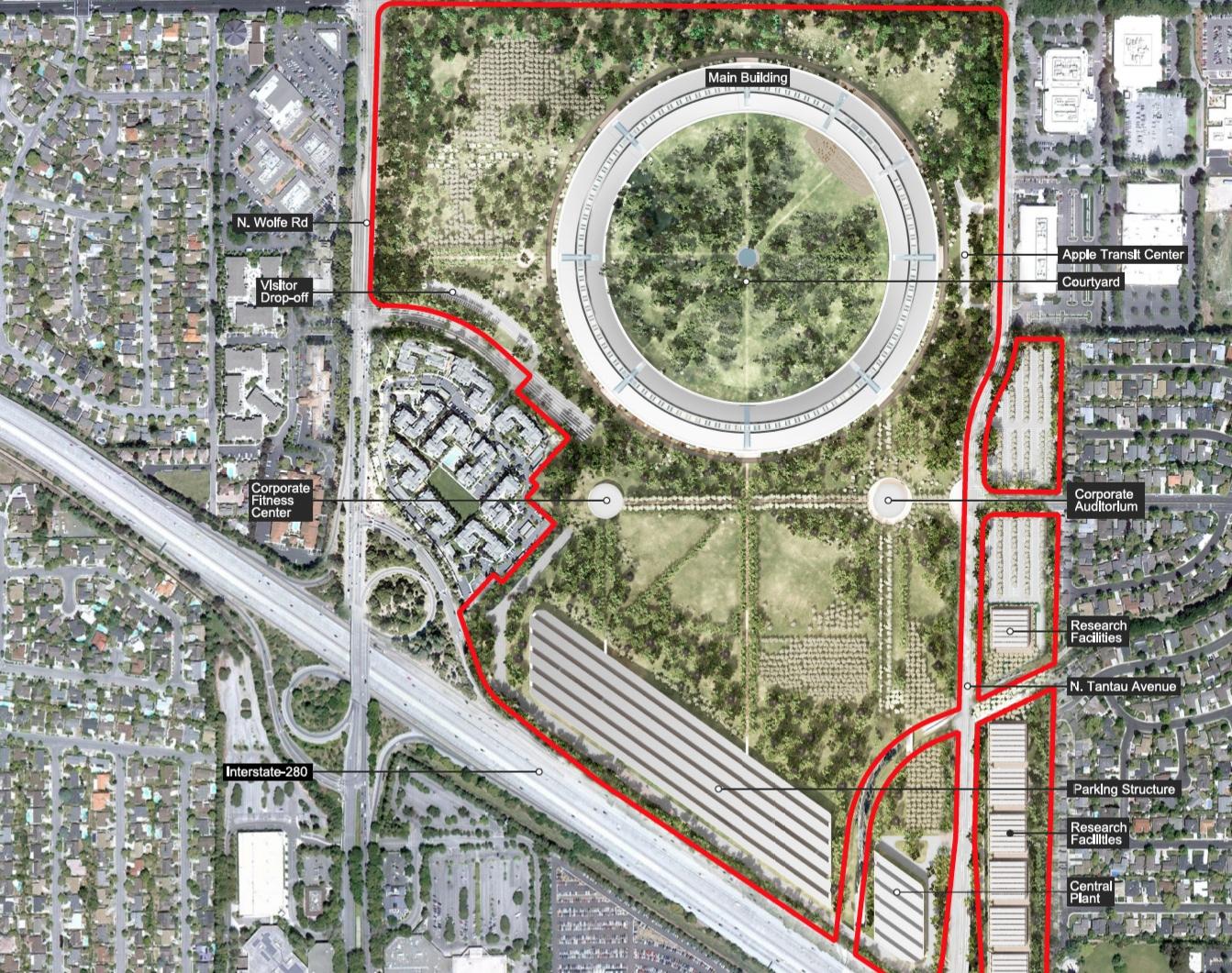 Raumschiffdesign: Details zu Apples neuer Firmenzentrale - Lageplan des Apple Campus 2 (Bild: Apple/Cupertino.org/Foster + Partners)