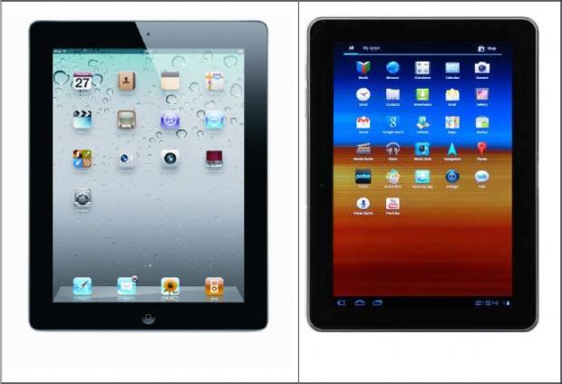 Vergleichsfoto vom iPad 2 und Galaxy Tab 10.1 aus Apples Antrag auf eine einstweilige Verfügung