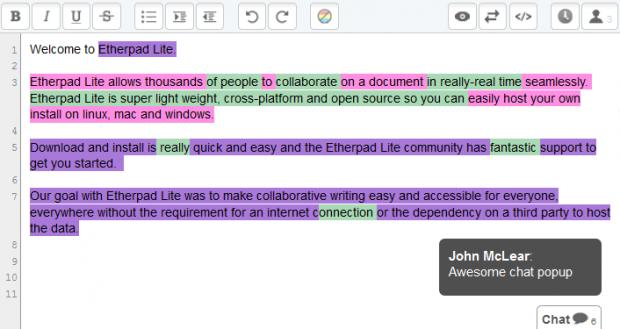 Neues Chat-Popup legt sich über das Etherpad.