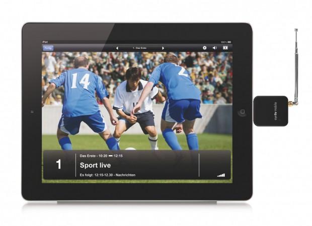 EyeTV Mobile - externer DVB-T-Fernsehempfänger  für das iPad 2 (Bild: Elgato)