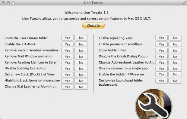 Benutzeroberfläche Lion Tweaks (Bild: ifredrik.com)