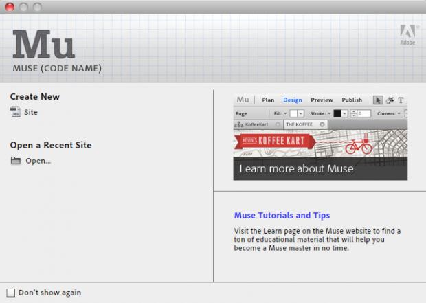 Adobe Muse - Startbildschirm (Bild: Adobe)