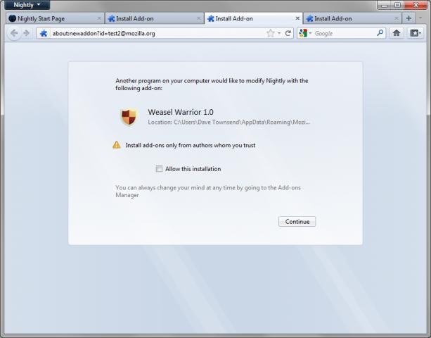 Firefox 8 akzeptiert keine Addons mehr ohne Zustimmung des Nutzers. (Bild: Mozilla)