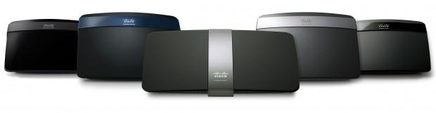 Neue Linksys E-Series Wireless-N Router - von links nach rechts: E1200, E3200, E4200, E2500 und E1500 (Bild: Cisco)