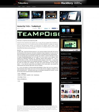 Teampoison hinterließ eine Warnung im Inside-Blackberry-Blog von RIM (Screenshot von Golem.de)