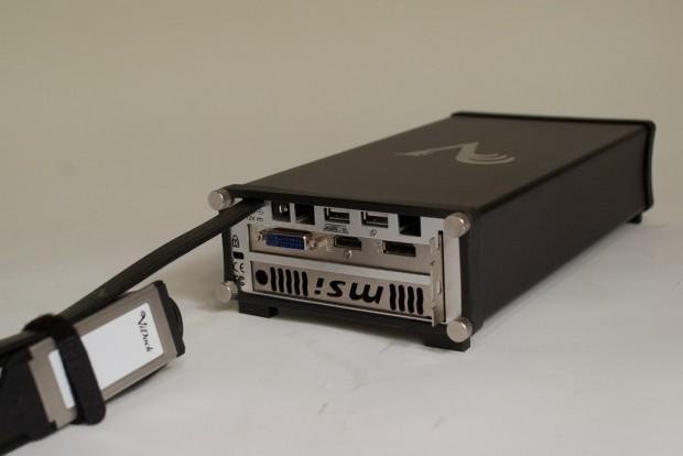 Mit einem Vidock-Gehäuse kann eine PCIe-Steckkarte über die Expresscard-Schnittstelle eines Notebook genutzt werden (Bild: Hersteller)