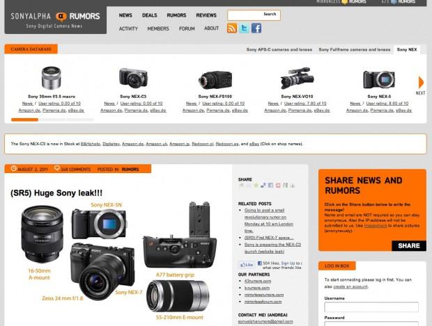 Website Sonyalpharumors.com mit Abbildungen angeblicher Sony-Neuheiten