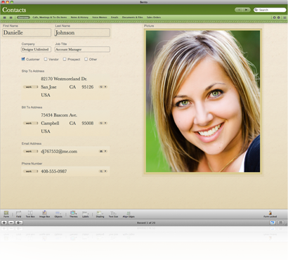 Kontakt-Template - Bento Business Organiser (Bild: Filemaker)