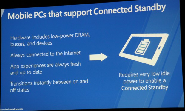 Microsoft erläutert Connected Standby auf der Build Windows.