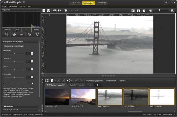 Die neue Benutzeroberfläche von Corel Paintshop Pro X4 (Bild: Corel)