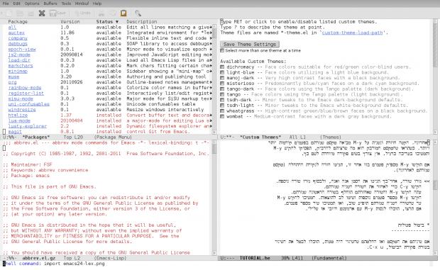 GNU Emacs 24.1 mit Paketmanager, Theming, GTK+ 3 und bidirektionalen Texten