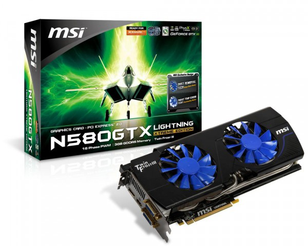 MSI GTX580 Lightning Xtreme Edition (XE) - mit 3 GByte, selbstreinigendem Lüfter und höherer Taktung