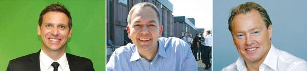 Drei Spielekonsolen-Chefs im Interview: Oliver Kaltner von Microsoft, Dr. Bernd Fakesch von Nintendo und Uwe Bassendowski von Sony Computer Entertainment Deutschland (SCED)